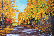 Road with yellow maples by Ken Ahlering