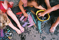 Using chalk and water to make art