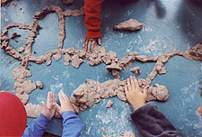 Making a road with clay