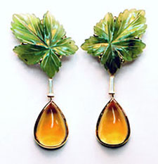 Carved jade leaf earrings