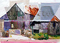 Abstract barn by Marjorie Sayer