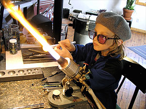 Young glassblower