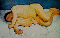 Reclining Mother and Child by Paula Modersohn-Becker