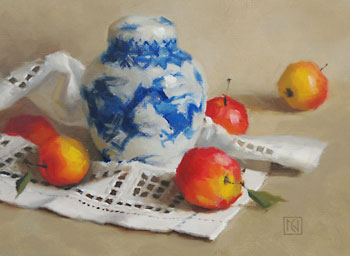 Ginger Jar and Crab Apples by Cat Nunn