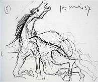 Horse sketch for Picasso's for Guernica
