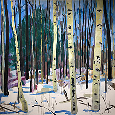 Myles Danaher's painting of winter birches