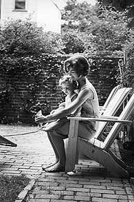 Jackie with Caroline in the garden