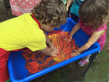 Getting into fingerpainting tub